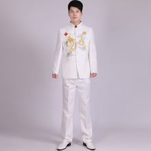 Fashion White Black Stand Collar Dragon Embroidery Chinese Tunic Suit Set Men Suit Latest Coat Designs Mens Suits