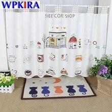 140cm Tab Top Sweat Coffee Shop Design Small Cafe Window Curtains Shade Kitchen Cartoon Short Cotton Linen Cloth Curtain QT017-3