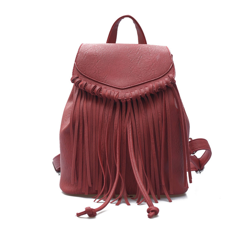 Tassel shoulder bag female PU leather small backpack 2018 new casual fashion trend mini female bag 1084 2017 small fresh mini shoulder bag with three pairs of ears can replace the small backpack cute modeling trend backpack y088