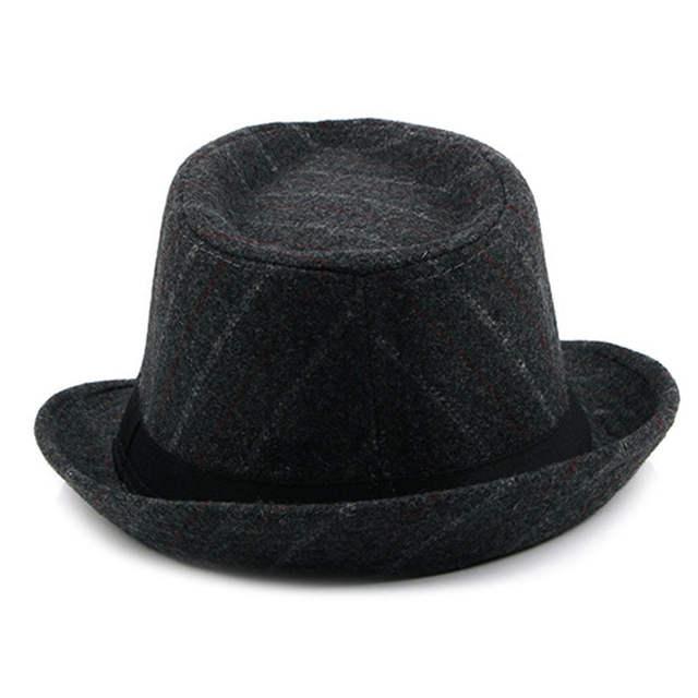 84ca3e96 FS Male Vintage Striped Felt Hat Wide Brim Jazz Gangster Hats 2018 Spring  Mens Classic Ribbon
