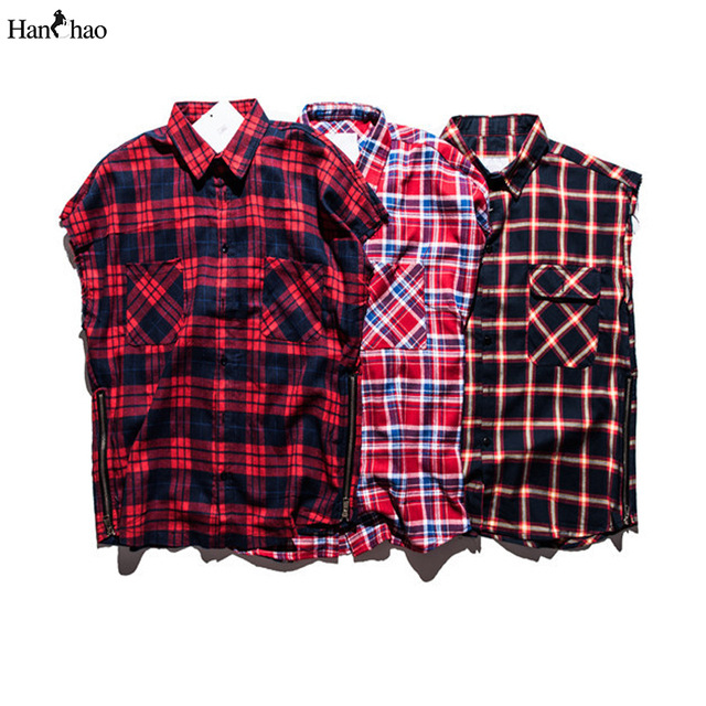 Franela a cuadros Camisas Sin Mangas 2017 Streetwear Cremallera Lateral Camisa Para Hombre Hip Hop Camisetas para Los Hombres de Justin Bieber
