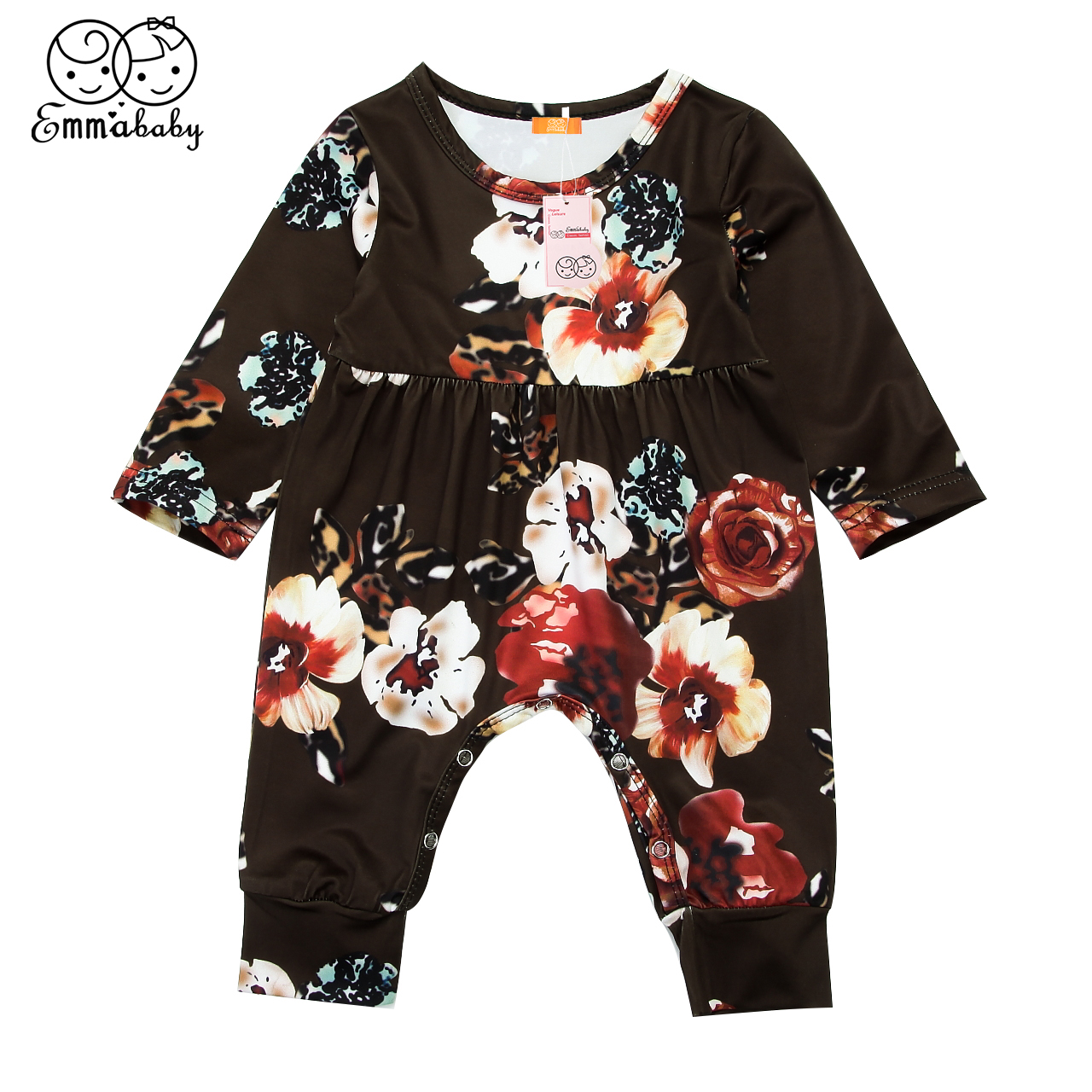 2018 new casual kid floral print rompers Newborn Baby Girls Long Sleeve Romper Jumpsuit Sunsuit cute kids flower Outfits Costume