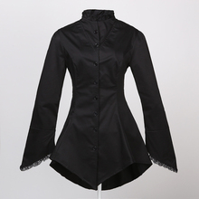 Black Cotton Stand Collar Full Sleeve Long Victorian Gothic Shirt Women Blouses 2017 Vintage Steampunk Clothing Blusas Femininas