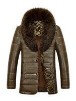 2016 New Fashion Men S Sheep Skin Leather Jacket Male Mink Collar Winter Down Coat Wholesale