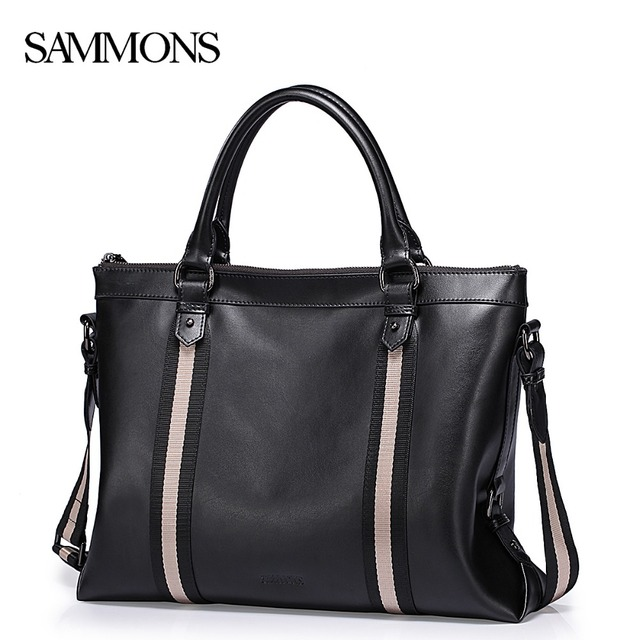 SAMMONS Men's Genuine Leather Briefcase Male Leisure Cowhide Business Totes Bags Man Laptop Bags Travel Computer Bags SZ5209