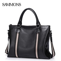 SAMMONS Men S Genuine Leather Briefcase Male Leisure Cowhide Business Totes Bags Man Laptop Bags Travel