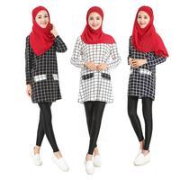 2017 מוגבל-קידום למבוגרים אופנה העבאיה Abayas האסלאמי המוסלמי ערבי משי נשי בגדי פסים עם שרוולים ארוכים חולצות טריקו W475