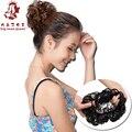 Женская Мода Вьющиеся Волосы Булочка Аксессуары Синтетический Donut Ролика Шиньоны Волнистые Chignon Updo With Elastic Инструменты Для Укладки Черный