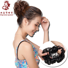 Women's Fashion Curly Hair Bun Accessories Synthetic Donut Roller Hairpieces Wavy Chignon Updo With Elastic Styling Tools Black