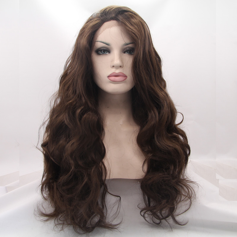 Natural Dark Coffee : Natural look dark coffee body wave wigs high quality long