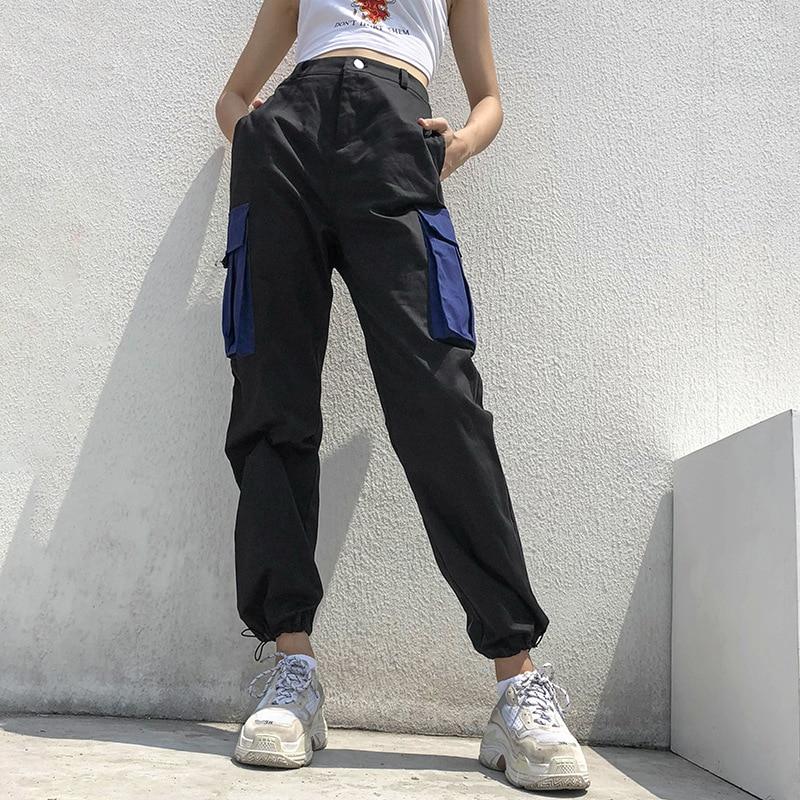 High Waisted Cargo   Pants   Women Casual Black   Capri     Pants   Patchwork Streetwear Female Trousers Harajuku Hip Hop Joggers
