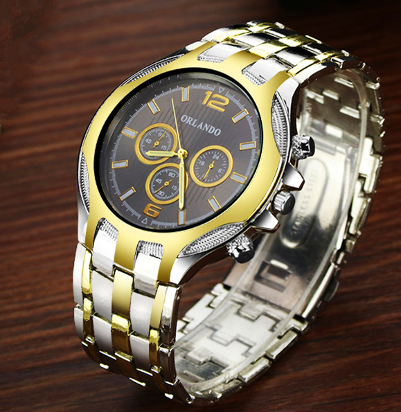 ORLANDO Top Quality Quartz Silver Gold Plated  Mens Stainless Steel  Wristwatch 2