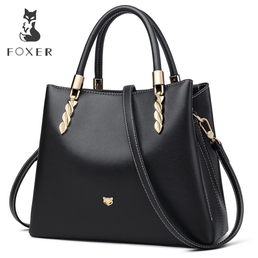 Bagaj ve Çantalar'ten Üstten Saplı Çanta'de FOXER Marka Kadın Çanta Büyük Kapasiteli Deri Lüks postacı çantası Kadın Şık omuz çantaları Lady sevgililer Günü Hediyesi'da  Grup 1