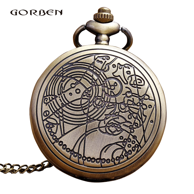 Bronze Antique Pocket Watch Doctor Who Hollow Gear Quartz Fob Watches Necklace Chain Pendant Men Clock Relogio De Bolso Gifts wholesale fashion quartz eye pyramid fob watches men gift pocket watch necklace women antique retro classic bronze father hot