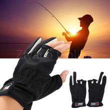 1 Pair Black Blue Brown High Quality Outdoor 3 Cut Finger Anti Slip Resistant Sports Fishing Rod Tackle Gloves for Fishing Lover
