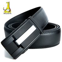 MILUOTA Mens Belts Luxury Fashion Cow Genuine Leather Belts For Men Automatic Buckle Black Leather