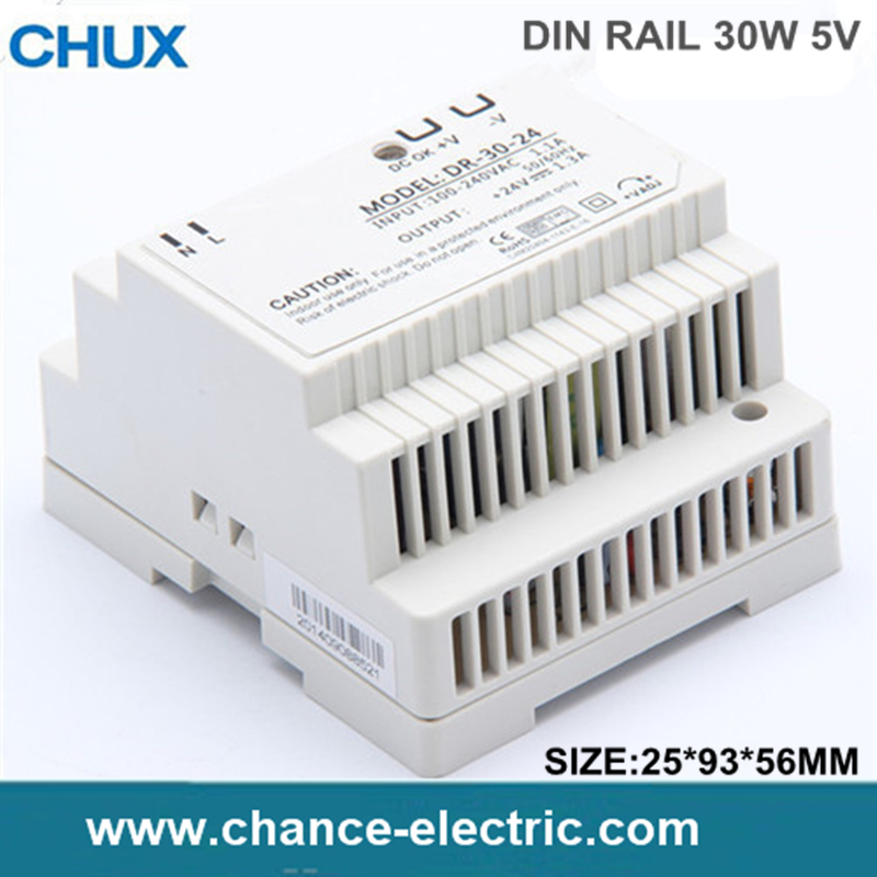 Din rail power supply 30w 5V power supply 5v 30w ac dc converter DR-30-5 good quality Free Shipping (DR-30W-5V) ac dc dr 60 5v 60w 5vdc switching power supply din rail for led light free shipping
