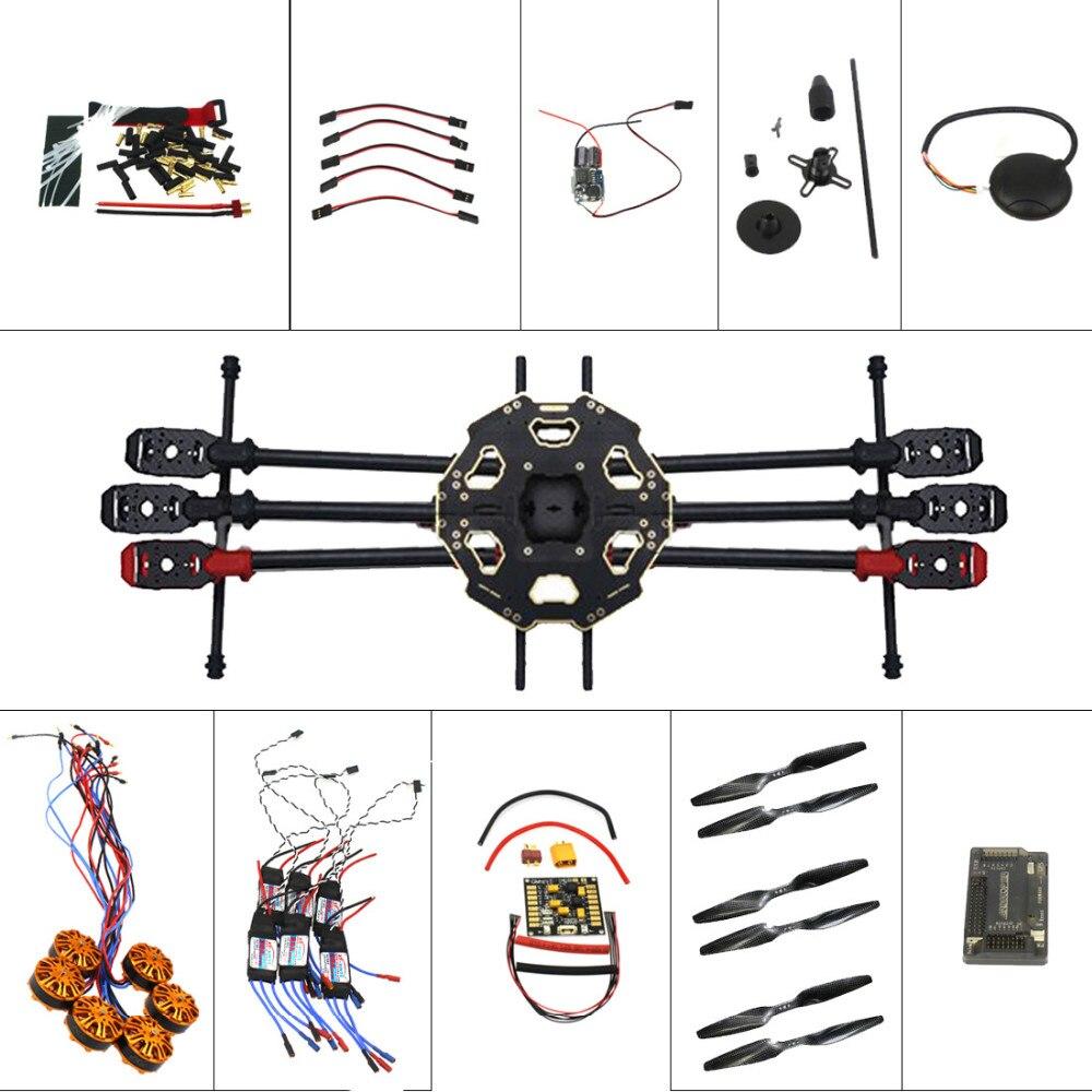 Helicóptero Drone 6-axis Aircraft Kit Tarot 680PRO Frame 700KV Motor GPS APM 2,8 Control de vuelo sin transmisor de batería F07807-B