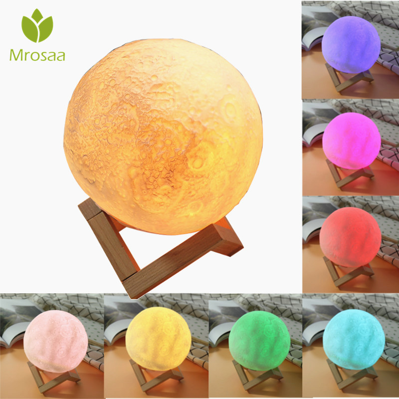 9 Colors Changing 3D Printing Moon Lamp Led Luminaria Bedroom Battery Powered USB Charge Childrens Night Light with Stand Gifts цена 2017