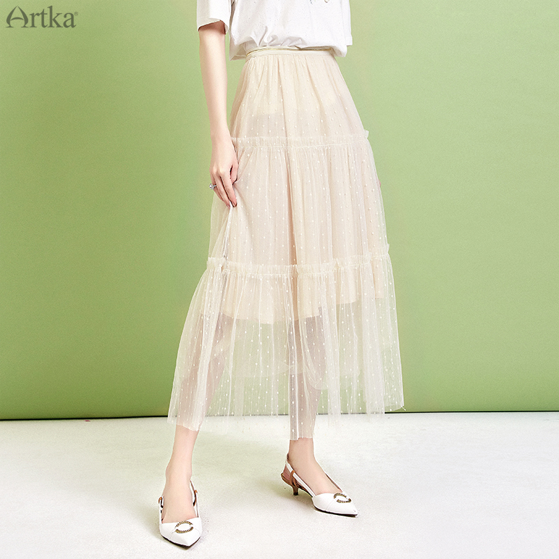 ARTKA 2019 Summer Women Skirt High Waist Mesh Skirt Long Elegant Skirt Elastic Waist Polka Dot