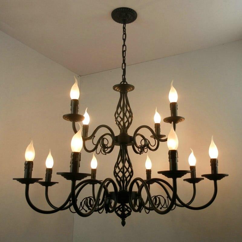 2 couches noir bougies lustre américain noir moderne led lustres européen rétro Restaurant escalier lustres luminaire