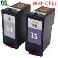 2pk 14 15 conjunto chip de cartucho de tinta compatível para lexmark 18c2110 18c2090 x2630 x2620 impressora