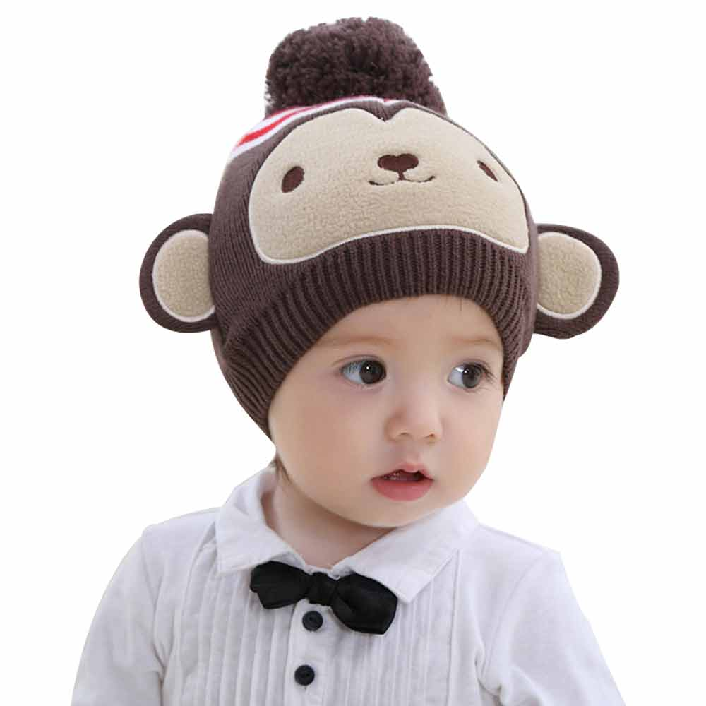 Mother & Kids 0-12m Infant Autumn Winter Warm Hats Little Monkey Ears Baby Solid Knitted Wool Hat Flap Kids Animal Beanies Crochet Baby Cap Boys' Baby Clothing