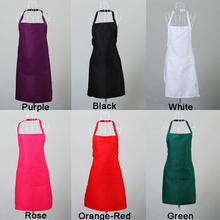 цена на Polyester Solid Color Halter Apron With Pockets Adjustable Belt Chefs Kitchen Cooking Unisex Pinafore Disposable Cui