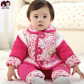 Fashion high quality floral red and hot pink baby chinese new year clothes 2017