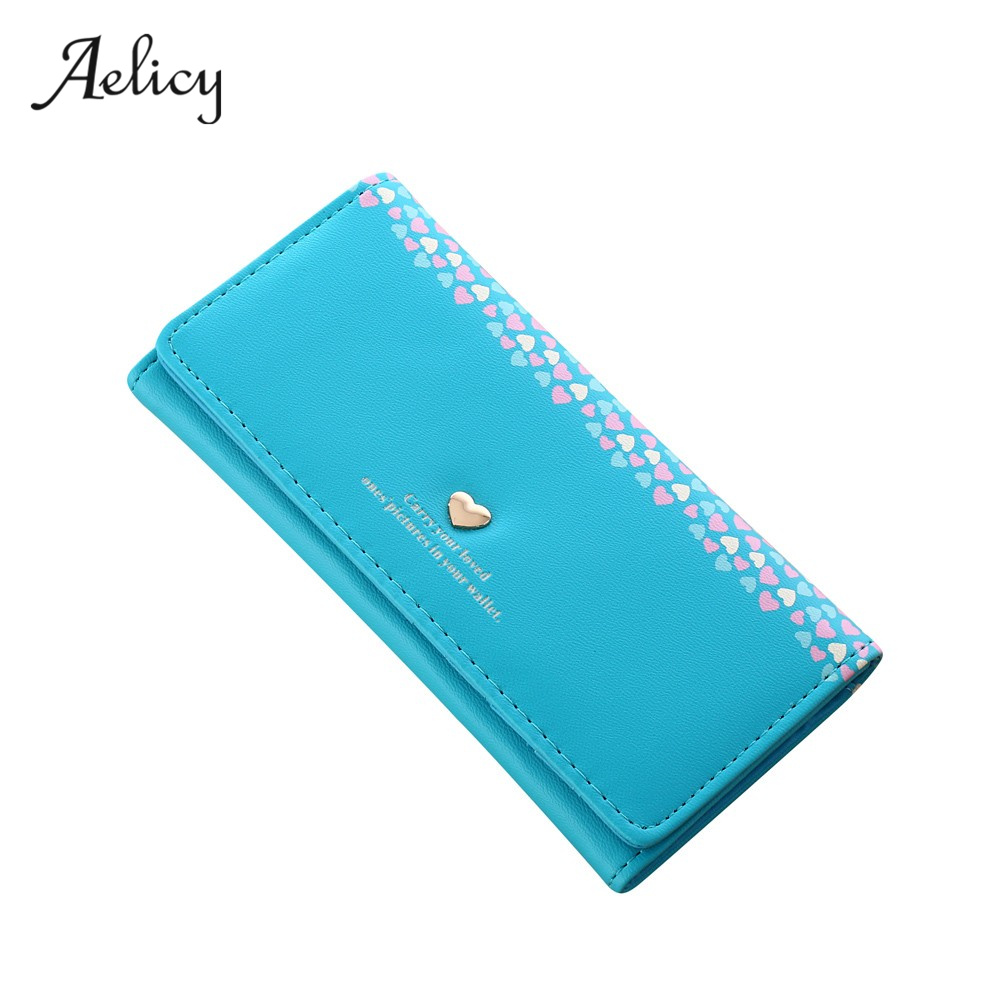Aelicy High Quality Women Love Heart Pattern Coin Purse Long Wallet Card Holders Handbag PU Leather Crossbody Tote Bag 4