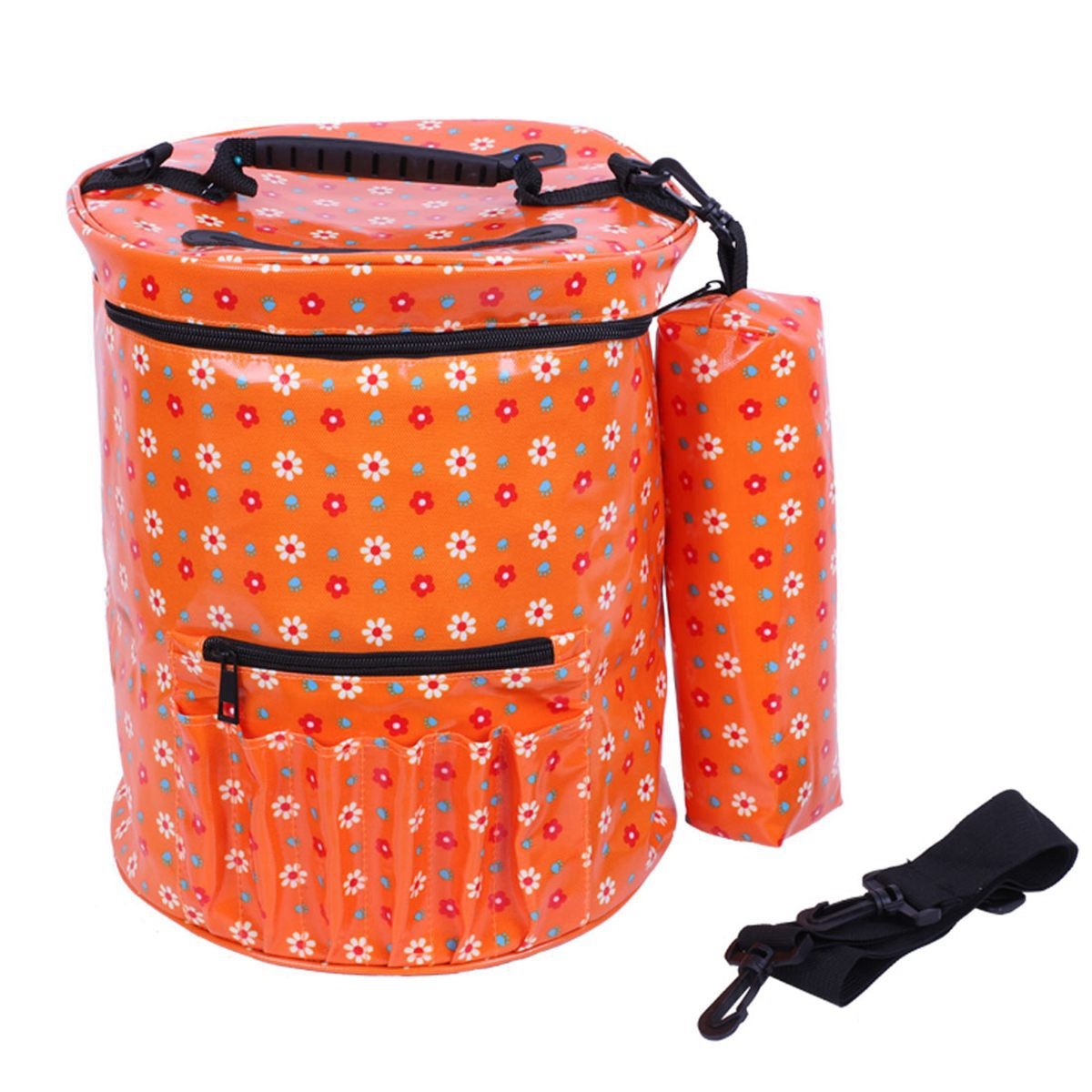 JHD Yarn Bag,Bloomma Waterproof Canvas Knitting Bag with Shoulder Strap Crochet and Needles Hooks Accessories Wool Storage Bag