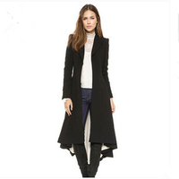 Women Winter Coat 2015 Casual Simple Suit Lapel Metal Cufflinks Victorian Woolen Jacket Folds Swallowtail Overcoat Z129