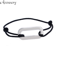 Moonmory France Style S925 Sterling Silver Rectangle Bracelet With Black Rope Bracelets For Women And Men