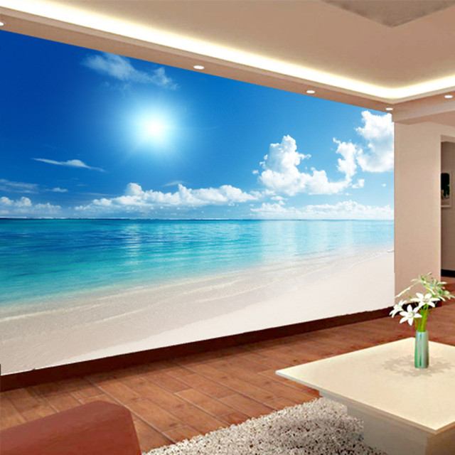 Custom Mural Wallpaper 3D Ocean View Blue Sky And Clouds ...