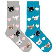 cute french bulldog socks heart socks kawaii dog crew socks with french bulldog puppies gift frenchie doggie sox 10/50pair/lot