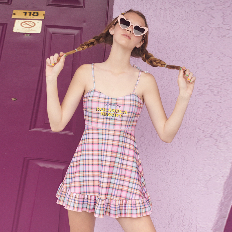 1 Piece Swimsuit Women Print Bathing Panties For May High Waisted Monokini Japanese Melting New 2019 Minus Age Plaid Skirt