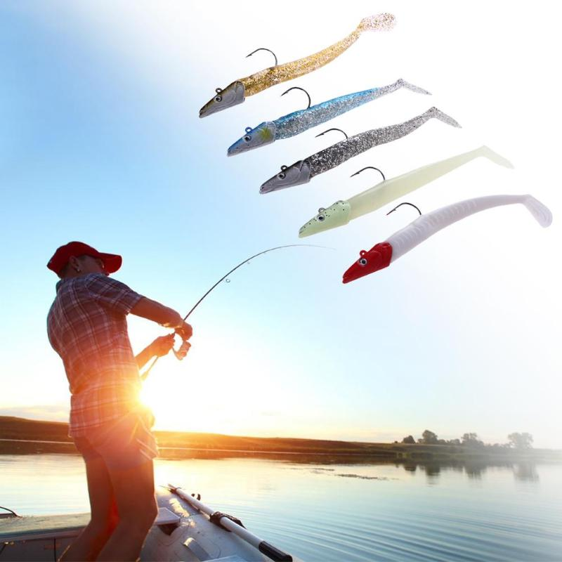 5pcs/set Lead Head Sinking Fishing Lure 22g/11cm Natural Live Vivid Body Jigging Soft Bait Fishing Lures T-tail Artificial Baits ...