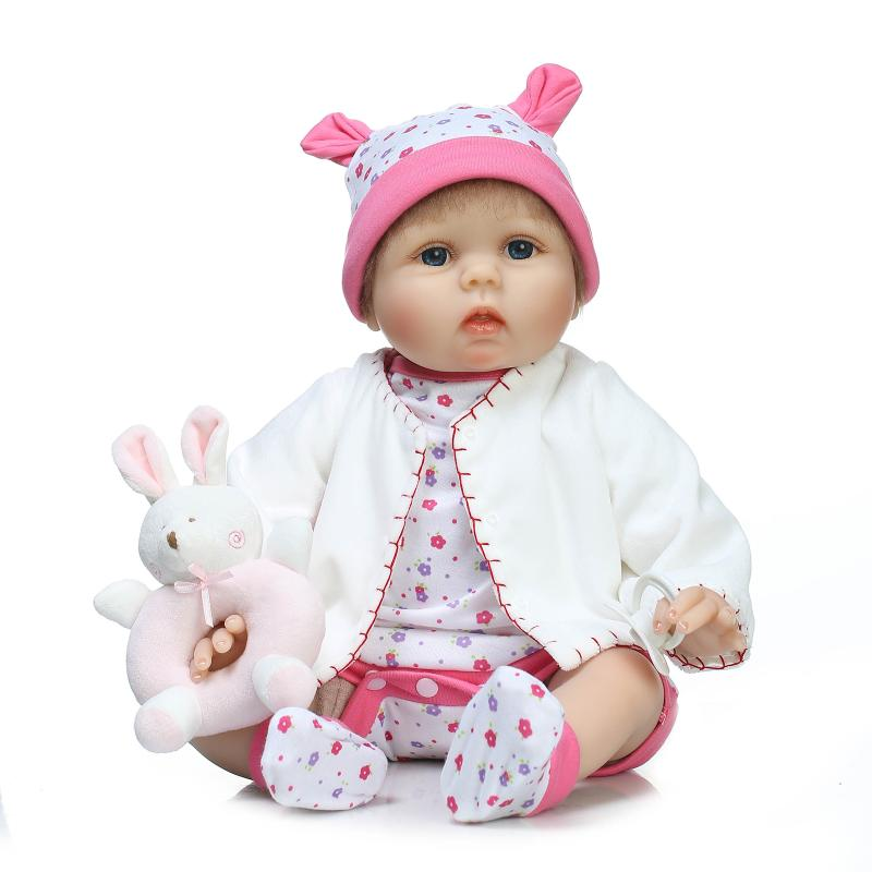 55cm Lovely Pink Girl Baby Reborn Doll Toy Birthday Christmas Gift for Kid Child Girl Brinquedos Silicone Reborn Babies Boneca lovely giant panda about 70cm plush toy t shirt dress panda doll soft throw pillow christmas birthday gift x023
