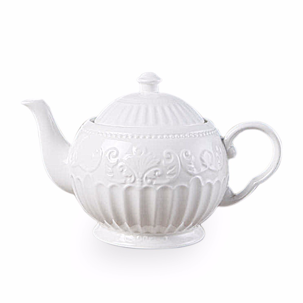 New arrival 3D Rilievo Lace European Style Coffee Pot with Handle Pure White Classical Afternoon Tea Teapot Milk Jar SH361-in Teapots from Home & Garden    1