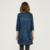Hee grand manteau femme solo pecho denim manga tres cuartos sólido estilo largo ocasional da vuelta-abajo trench coat fwf550