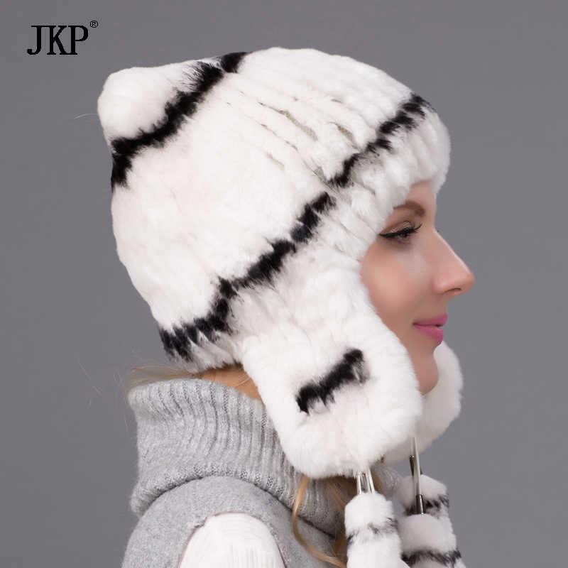 Inverno Mulheres Chapéus Tampas com Pele Real Rex Rabbit Fur Chapéu Protetor Auricular Bola Flor Pompom Feminino Malha Bombardeiro Pele chapéu A TUA-04