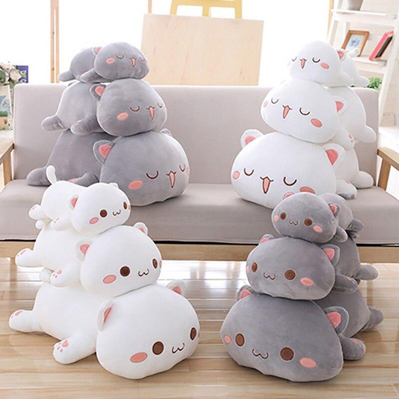 35/50/65cm macio animal sorriso gato travesseiro almofada bonito brinquedo de pelúcia gordo enchido melhor presente do birthyday para crianças/namorada