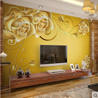 Self Adhesive Wall Mural Living Room Wallpaper 3D TV Background Gorgeous Rose Yellow