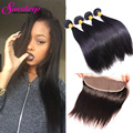 Peruvian Straight Hair 4 Bundles With Frontal Closure 7A Pre Plucked Frontal Straight Virgin Hair Frontal Closure With Bundles