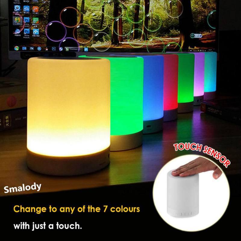 Dapper Kleurrijke Led Nachtlampje Geluid Nachtkastje Lamp Voor Beter Slaapt Draagbare Draadloze Bluetooth Speaker Mini Smart Pat Licht Klanten Eerst