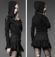 2016 New Punk Kera Hoodie Jacket Black Cotton Pirate Gothic Vampire Coat S-XXL