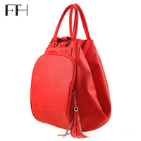 Practical Women Multifunction Backpack Female Shoulder Bag Lady Totes Tassel Pendant Schoolbag For Girls Package Bolsa