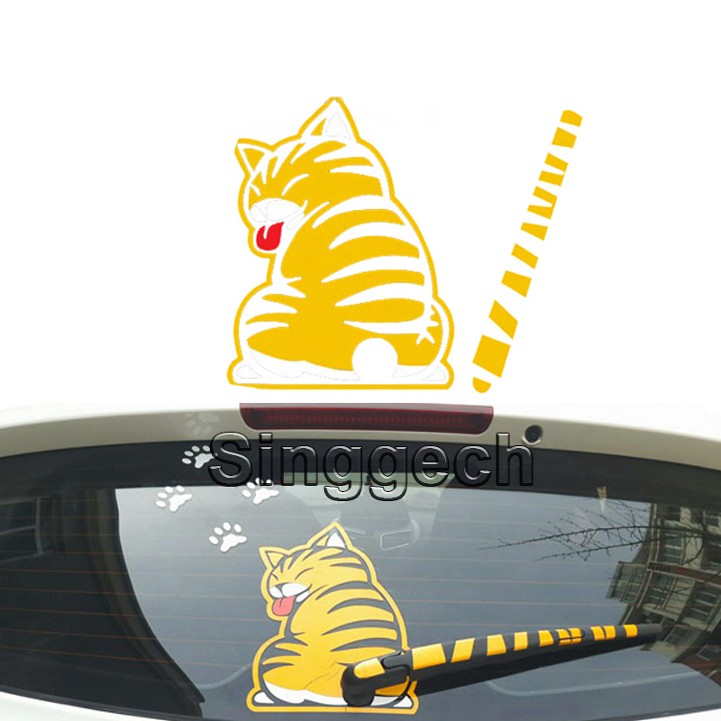 Car Styling Rear Window Wiper Decals Cat Stickers For Ford Focus Fiesta Kuga Ecosport Chevrolet Lacetti Captiva Sail Accessories stainless steel stereo knob panel decorative stickers 1pcs for ford fiesta ecosport accessories