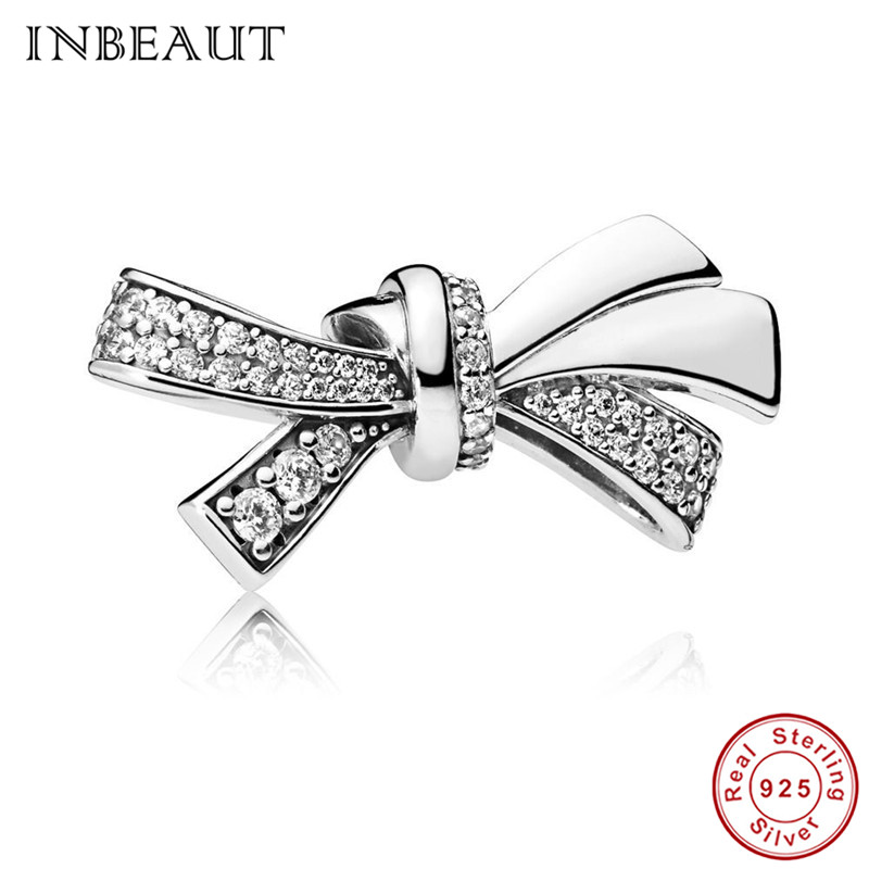 9838ad0fe 2018 White Tiny CZ Bowknot Beads fit Pandora Bracelet 100% Authentic  Original Gentle 925 Sterling