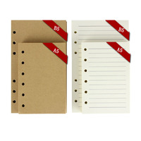 B5 A5 lined/blank/check/dots vintage kraft wood free refill papers 80 sheets